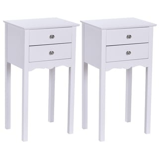 Gymax 2 PCS Side Table End Accent Table Night Stand W/ 2 Drawers White
