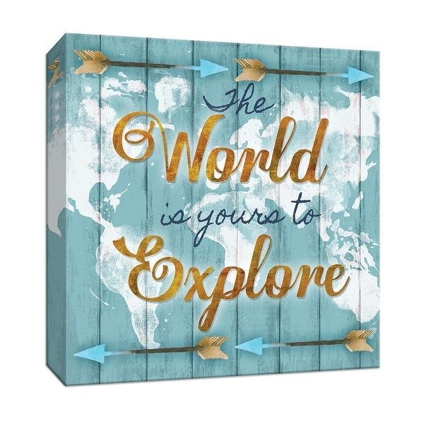 """PTM Images 9-147270 PTM Canvas Collection 12"""" x 12"""" - """"World Explore"""" Giclee Sayings & Quotes Art Print on Canvas"""