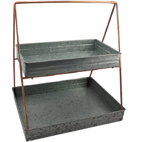 Galvanized Metal 2 Tiered Rectangular Serving Tray, Gray