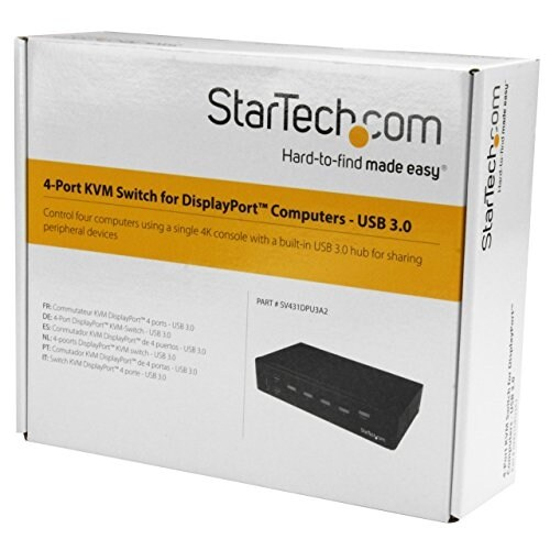 Startech Sv431dpu3a2 4-Port Displayport Kvm Switch - Usb 3.0 - 4K 30Hz