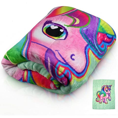 Bell and Howell Kids Unicorn Weighted Blanket 7lb with Glass Bead Fill
