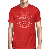 Muscles Are Importanter Mens Red Lightweight Cotton Workout Tee