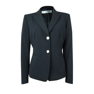 Tahari Women's Sandra Pinstriped Two Button Blazer - NAVY/WHITE