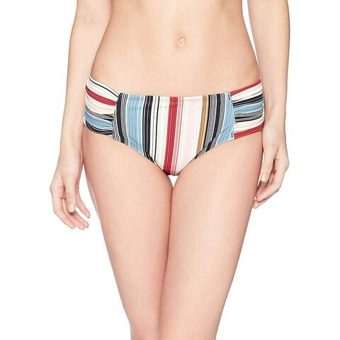 Brand - Coastal Blue Women's Swimwear Bikini Bottom, Raisin/Blue Stripe, M (8-10) - 8