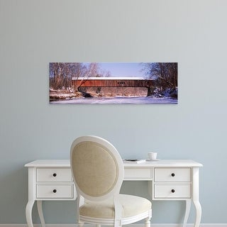 Easy Art Prints Panoramic Images's 'Cox Ford Covered Bridge Parke Co IN USA' Premium Canvas Art