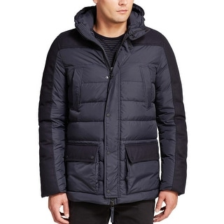 Duvetica Fitalodue Hoodie Goose Down Fill Quilted Jacket Large Navy Blue