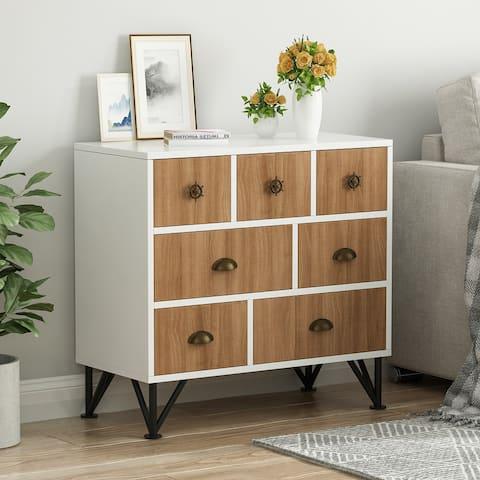 Kerrogee 7-Drawer Chest - Wooden Storage Dresser with Metal Legs
