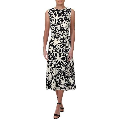 Lauren Ralph Lauren Womens Feliana Midi Dress Floral Print Sleeveless