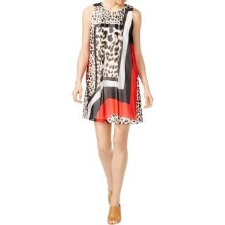 Calvin Klein Womens Wear to Work Dress Printed Pleated