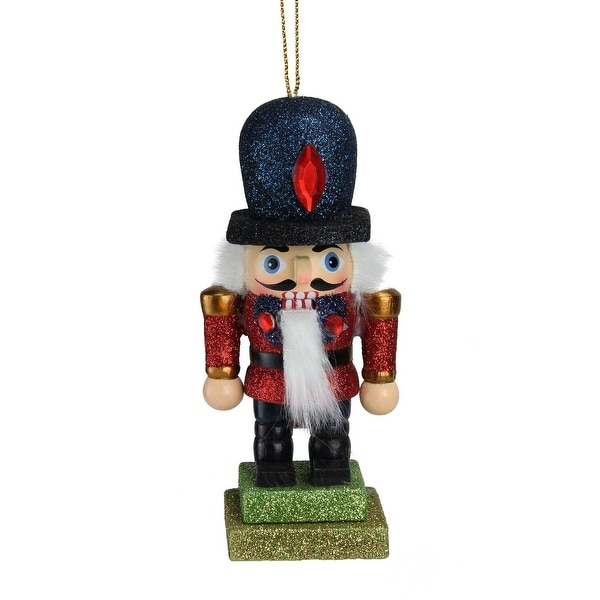 "5"" Hollywood Glittered Red and Blue Royal Wooden Christmas Nutcracker Ornament"