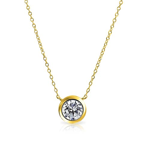 Bling Jewelry Gold Plated Silver 2ct Solitaire CZ Pendant Necklace 16 Inches