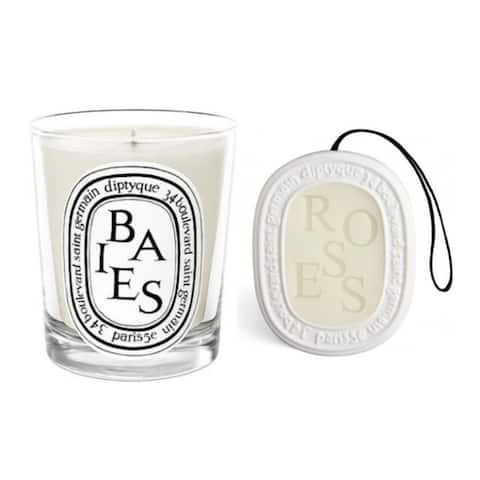 Diptyque Berries Scented Candle and Roses Scented Oval Duo Set