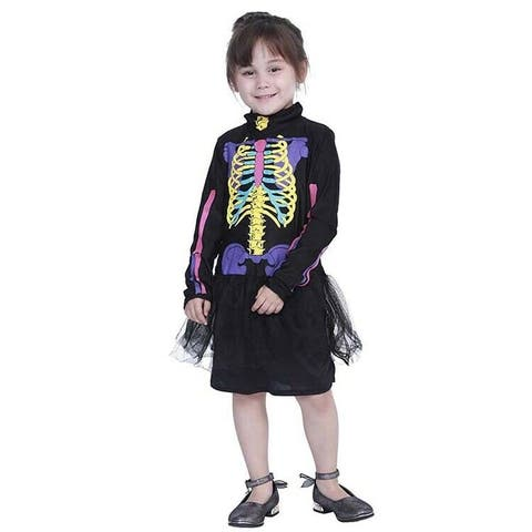 Eraspooky Kids Girls Halloween Skeleton Bones-Printed Costume Cosplay Children Fancy Dress