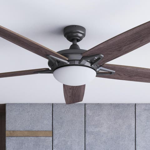 """52"""" Prominence Home Clancy Indoor Modern Ceiling Fan with Remote, Matte Black"""