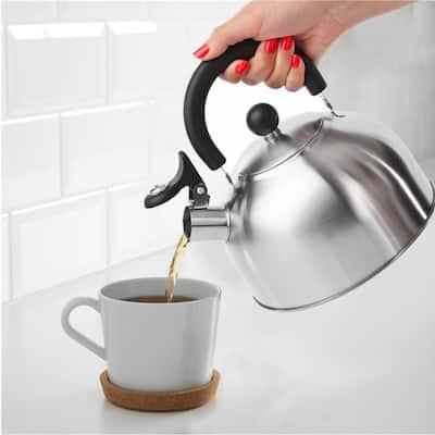 Bene Casa traditional, 2.5-quart stainless-steel whistling tea kettle, removable lid, stovetop kettle