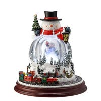 """8"""" White and Clear Frosted Double Snowman Snow globe"""