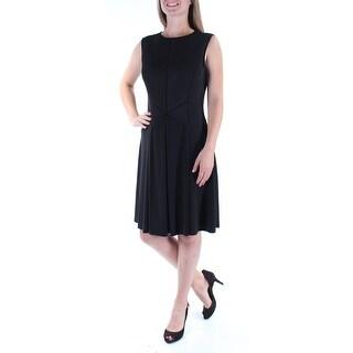 Womens Black Sleeveless Knee Length Sheath Wear To Work Dress Size: 10