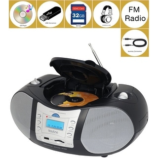 Boytone BT-6B CD Boombox Black Edition Portable Music System with CD Player & USB/SD/MMC Slot, Digital FM Radio with Auxiliary-i