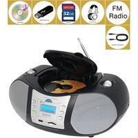 Boytone BT-6B CD Boombox Black Edition Portable Music System with CD Player & USB/SD/MMC Slot, Digital FM Radio with Auxiliary-i