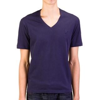 Versace Collection Men Medusa V-Neck Tee T-Shirt Blue