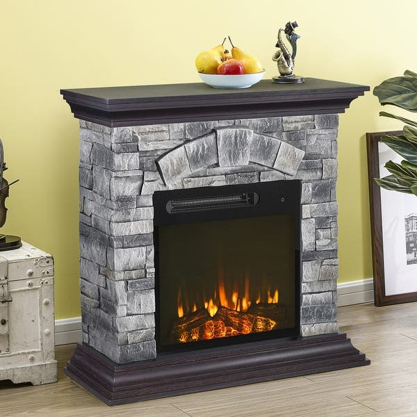 40 Inch Wide Faux Stone Electric Fireplace Mantel Overstock 32499867 Grey