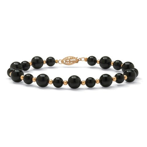 10K Yellow Gold Beaded Black Onyx 8 inches