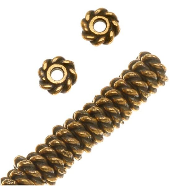 TierraCast 22K Gold Plated Pewter Twist Edge Spacer Beads 4mm (50)