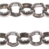 Antiqued Silver Plated Large Round Rolo Chain 5.5mm Bulk By The Foot