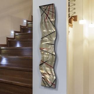 "Statements2000 3D Metal Wall Art Accent Sculpture Modern Abstract Gold Decor by Jon Allen - Meteor Eclipse Wave - 46"" x 10"""