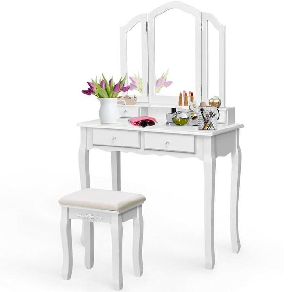 . Costway Vanity Makeup Dressing Table Set bathroom W Stool 4 Drawer Mirror  Jewelry Wood Desk White