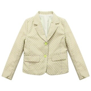 Richie House Baby Girls Beige Green Dot Print Small Coat 24M