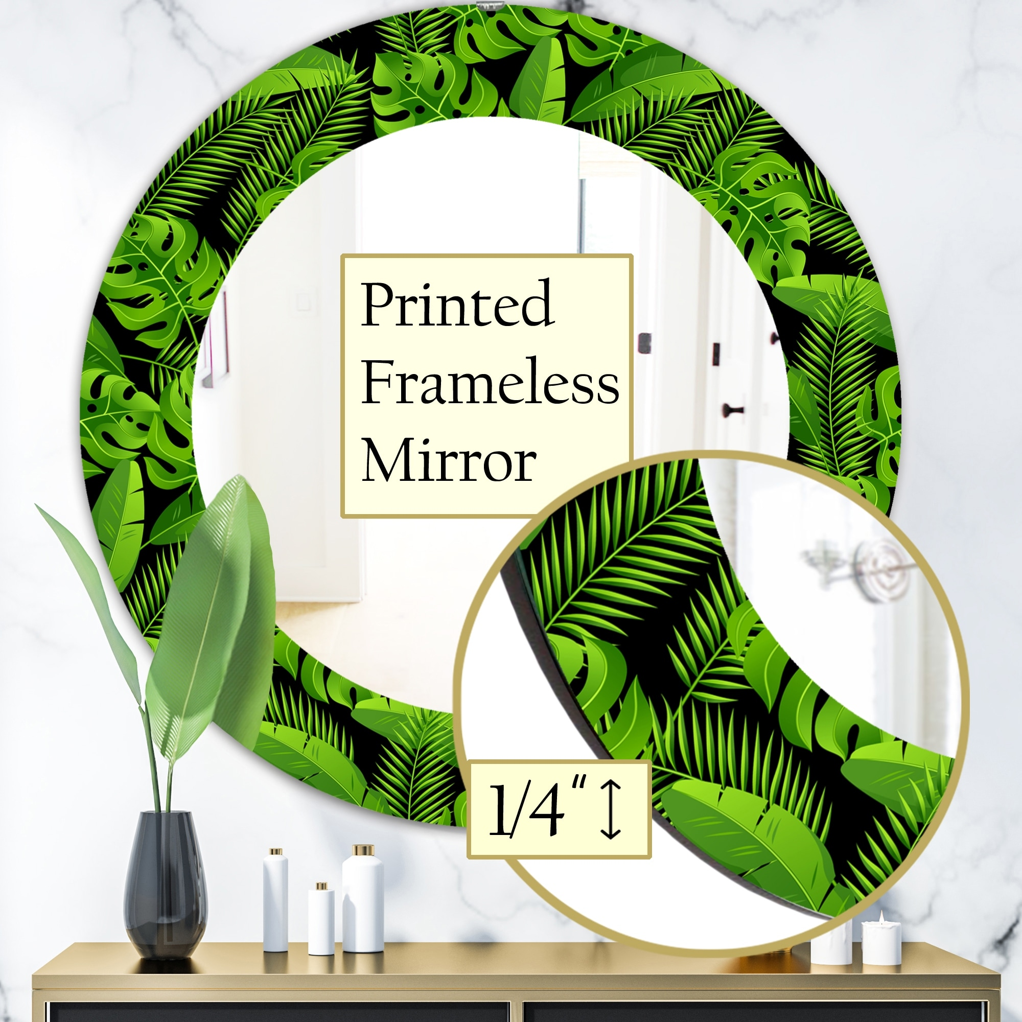 Designart Tropical Mood Foliage 13 Bohemian And Eclectic Mirror Oval Or Round Wall Mirror Green Overstock 28558172