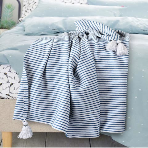 Blue and Ivory Striped Throw Blanket with Tassels