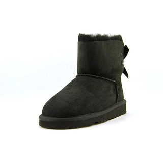 Ugg Australia K Mini Bailey Bow Youth Round Toe Suede Black Snow Boot
