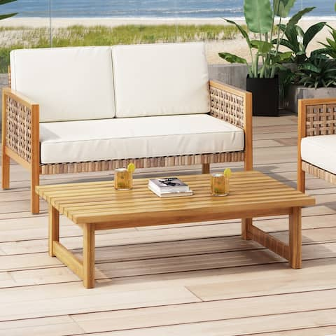 """Nova Outdoor Acacia Wood Coffee Table by Christopher Knight Home - 41.75"""" W x 26.00"""" D x 11.75"""" H"""
