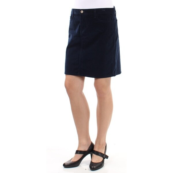 5472e8ed52dd Shop TOMMY HILFIGER Womens Navy Corduroy Above The Knee Pencil Skirt Size   10 - Free Shipping On Orders Over  45 - Overstock.com - 27367928