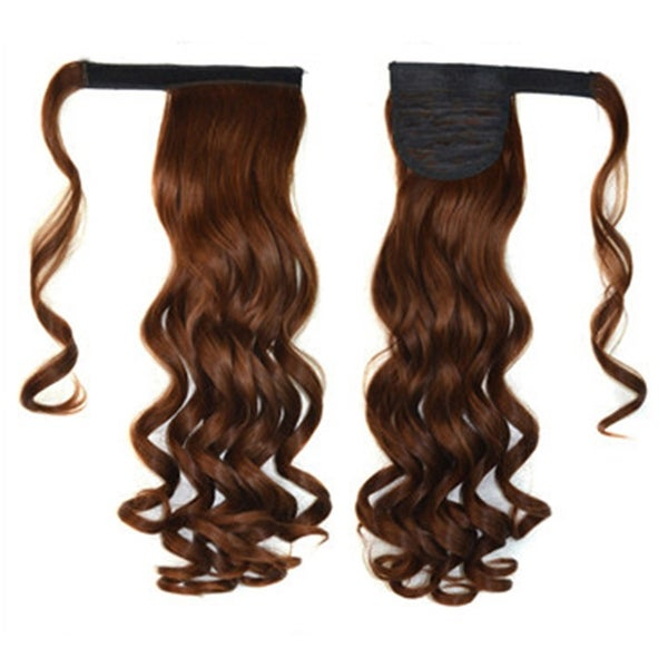 Shop Magic Tape Long Curled Hair Extension Wig Light Brown K06 2m30