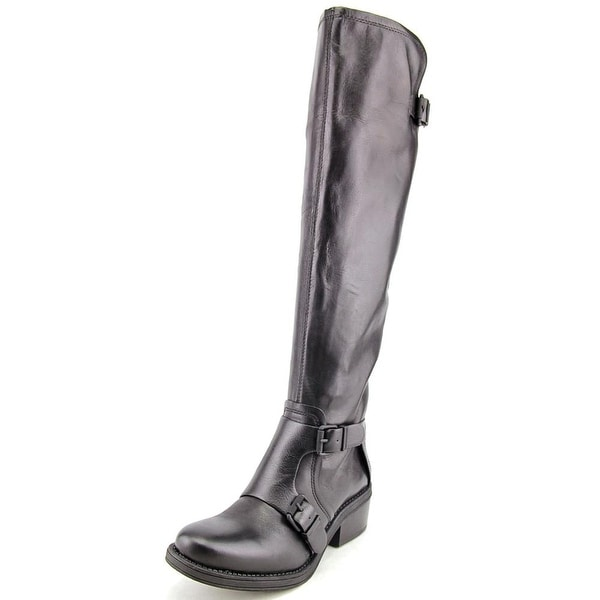 Calvin Klein Jeans Geana Women Round Toe Leather Black Knee High Boot