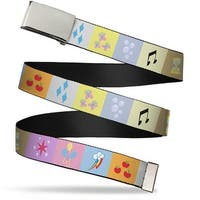 Blank Chrome Buckle Derpy Hooves My Little Pony Muffins Gray Yellow Web Belt