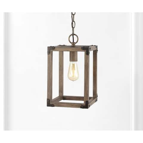 "Magnolia 8.13"" Adjustable Iron Rustic Farmhouse LED Pendant, Brown by JONATHAN Y"