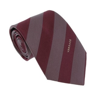 Versace Bordeaux Woven Dotted Stripe Tie