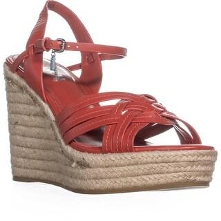 Coach Dottie Strappy Ankle Strap Wedge Sandals , Carmine