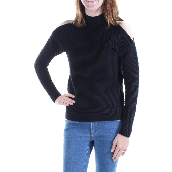 Womens Black Long Sleeve Turtle Neck Casual Top Size 2XS