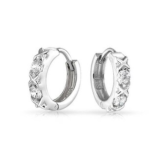 Bling Jewelry XOXO Hugs and Kisses CZ Small Hoop Hoop Earrings Sterling Silver