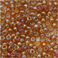 Toho Round Seed Beads 8/0 162C 'Transparent Rainbow Topaz' 8 Gram Tube