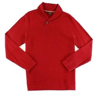 Tasso Elba NEW Red Velvet Mens Large L Pullover Shawl Collar Sweater