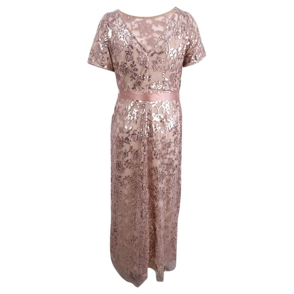 R&M Richards Women\'s Plus Size Lace Sequined Gown - Rose Gold