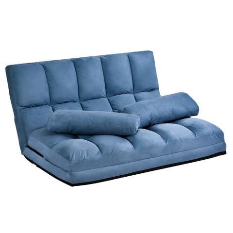 Merax 5-position Adjustable/Folding Floor Loveseat with 2 Pillows for Small Space
