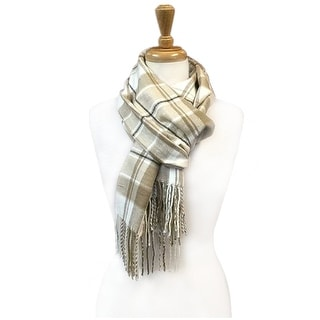 """Super Soft Luxurious Classic Cashmere Feel Winter Scarf - Beige - 72""""x12"""" with 11"""" fringes"""