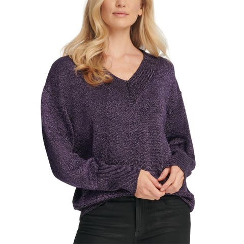 DKNY Womens Pullover Sweater Metallic V-Neck